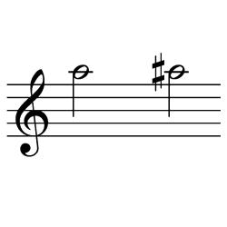 ラ~ラ♯(ラ~シ♭) / A5~A#5(A5~B♭5)