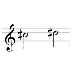 ド♯~レ♯(レ♭~ミ♭) / C#5~D#5(D♭5~E♭5)