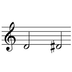 レ~レ♯(レ~ミ♭) / D4~D#4(D4~E♭4)