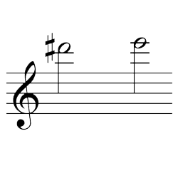 レ♯~ミ(ミ♭~ファ♭) / D#6~E6(E♭6~F♭6)