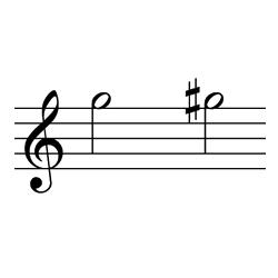 ソ~ソ♯(ソ~ラ♭) / G5~G#5(G5~A♭5)